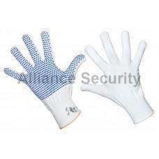 Перчатка нейлоновая с частичным покрытием ладони и пальцев точка ПВХ.  БЕЛАЯ